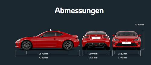 Abmessungen und Maße des neuen Toyota GT86 2016 Bildquelle: Toyota.de