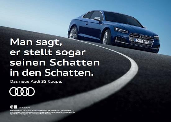 Der neue Audi A5 als Coupe mit Spruch Bildquelle: Audi