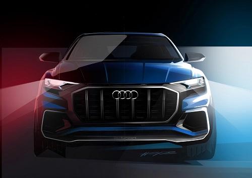 Audi Q8 Concept 2018 Erlkönig Concept Car Bilder der Studie wie der neue Audi Q8 aussehen kann Front Ansicht Bildquelle: audi-mediacenter.com