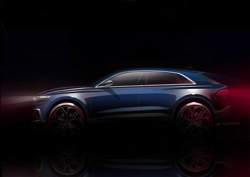 Audi Q8 Concept 2018 Erlkönig Concept Car Bilder der Studie wie der neue Audi Q8 aussehen kann Seitenansicht Bildquelle: audi-mediacenter.com