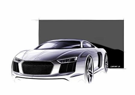 Audi R8 Spyder Cabrio 2016 Frontansicht Skizze Bildquelle: Audi.de