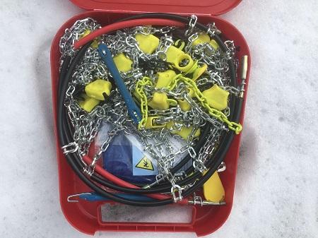 Bilder vom Schneekettentest Ottinger QS Spur 200905 Unboxing und Montage