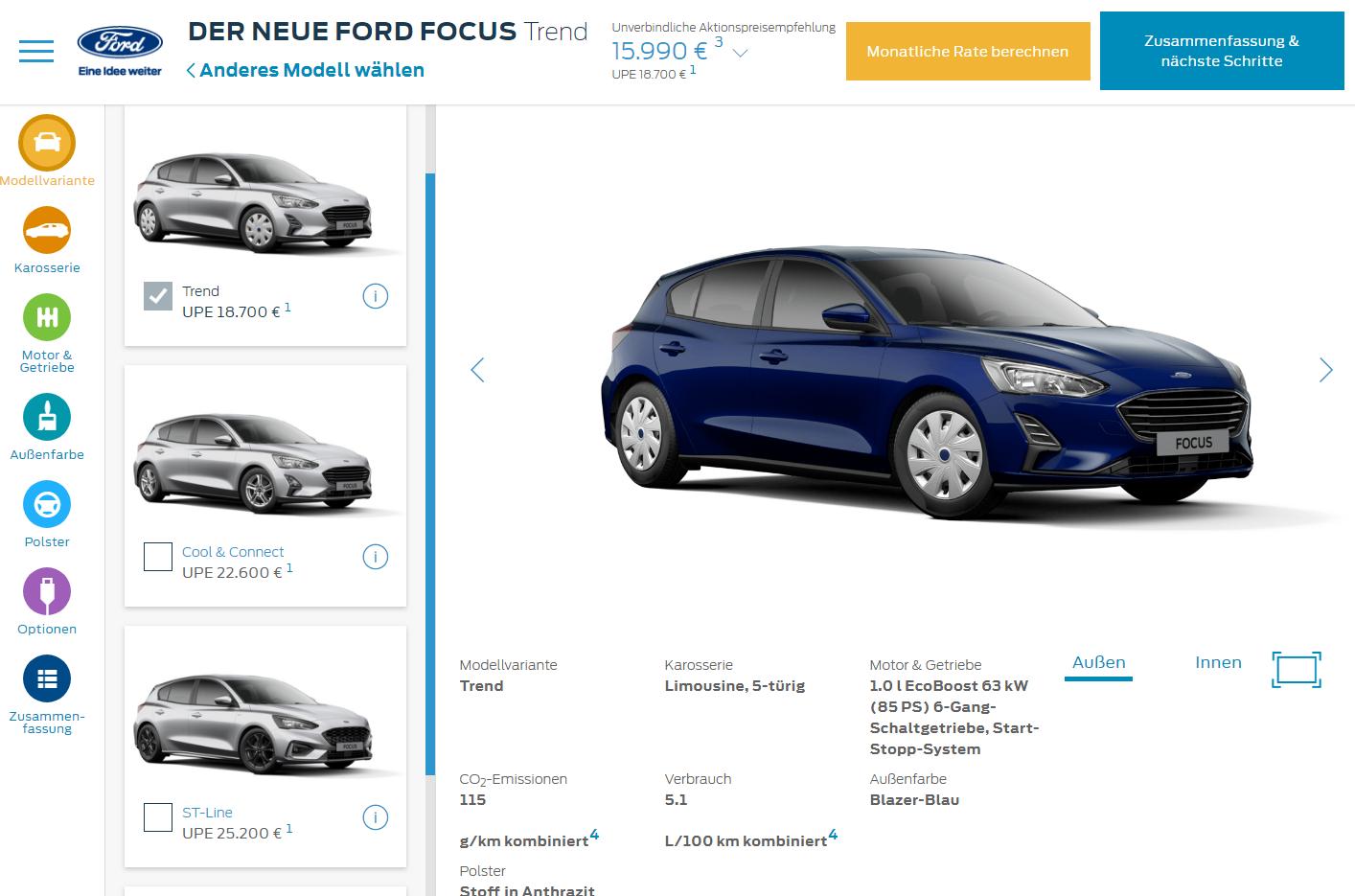 Ford Focus 2018 derzeit online mit Aktionsbonus erhältlich Bildquelle: Ford.de