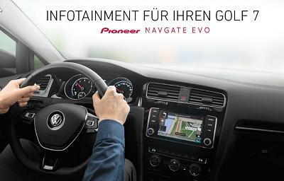 Golf 7 Infotainment neu entdeckt mit NAVGATE EVO Vollintegriertes Sounderlebnis Bildquelle: pioneer-car.de