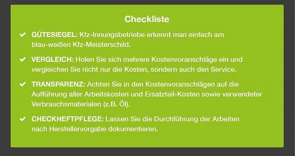 KFZ Checkliste Freie Werkstatt oder Vertragswerkstatt Bildquelle: contorion.de