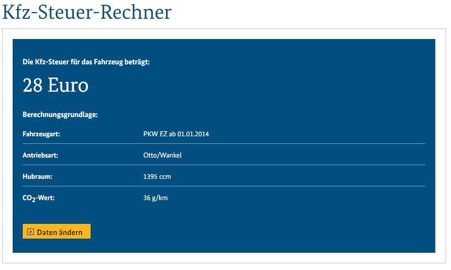 KFZ-Steuerrechner zum VW Golf GTE Bildquelle: bundesfinanzministerium.de
