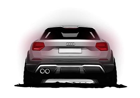 Neuer Audi Q2 Heck als Skizze Bildquelle: Audi-Mediacenter
